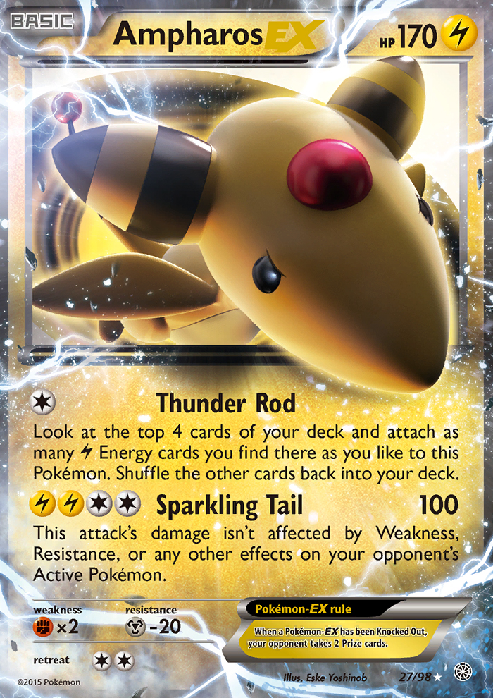 2015 Ancient Origins Ampharos EX   Holo