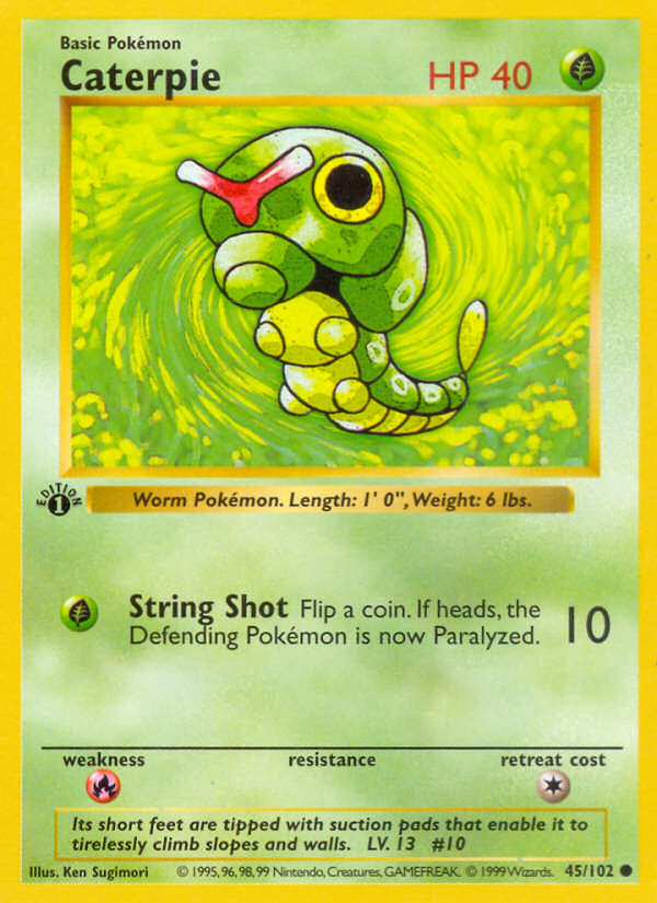 1999 Base Set Caterpie Shadowless