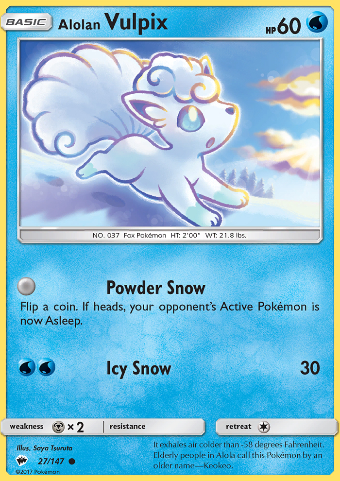 2017 Burning Shadows Alolan Vulpix Reverse Foil