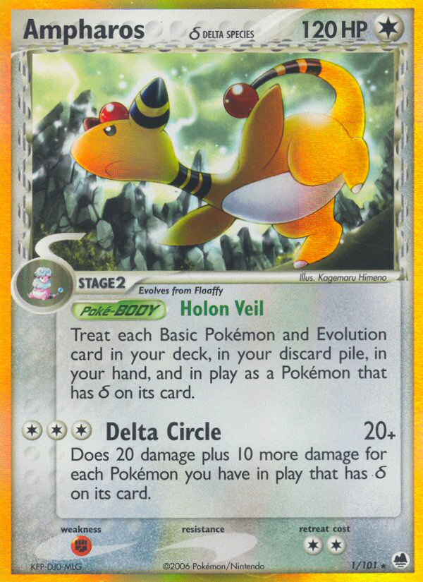 2006 EX Dragon Frontiers Ampharos   Holo