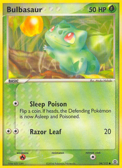 2004 EX Fire Red Leaf Green Bulbasaur Refractor  Reverse Foil