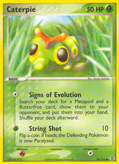2004 EX Fire Red Leaf Green Caterpie Refractor  Reverse Foil