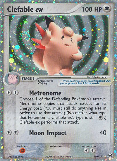 2004 EX Fire Red Leaf Green Clefable EX   Holo