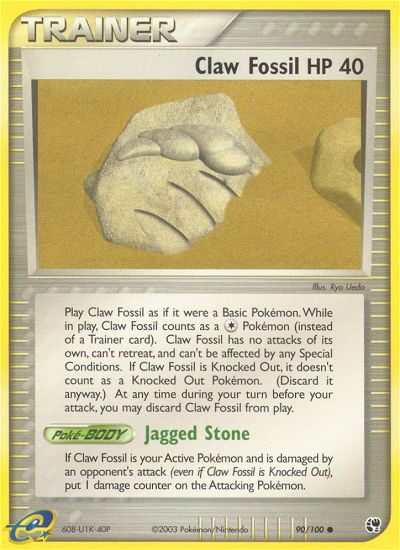 2003 EX Sandstorm Claw Fossil HP 40 Reverse Foil