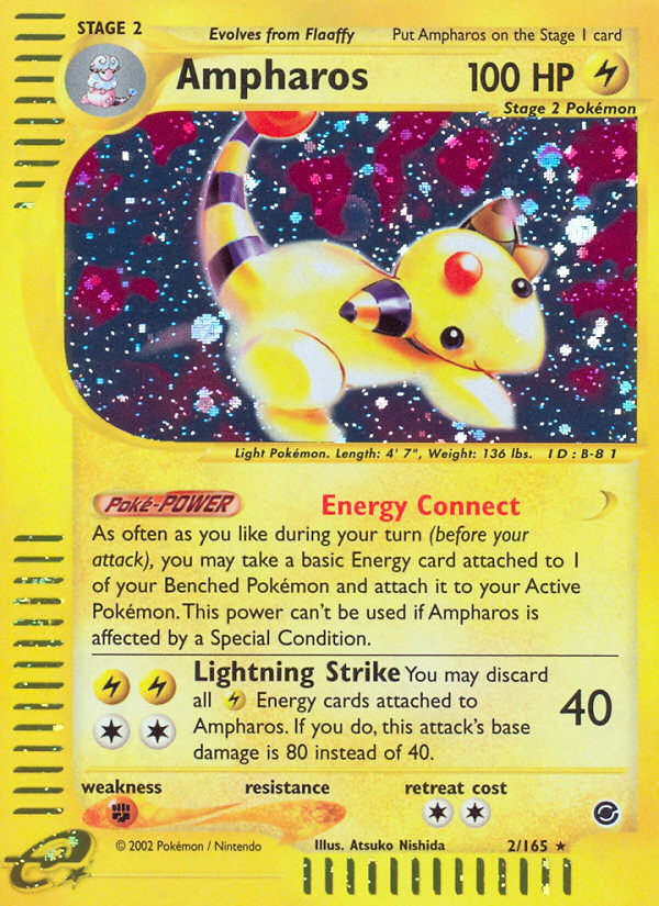 2002 Expedition Base Set Ampharos   Holo