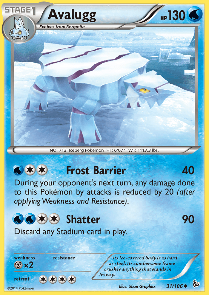 2014 Flashfire Avalugg Crosshatch Pokemon League 1st PL.