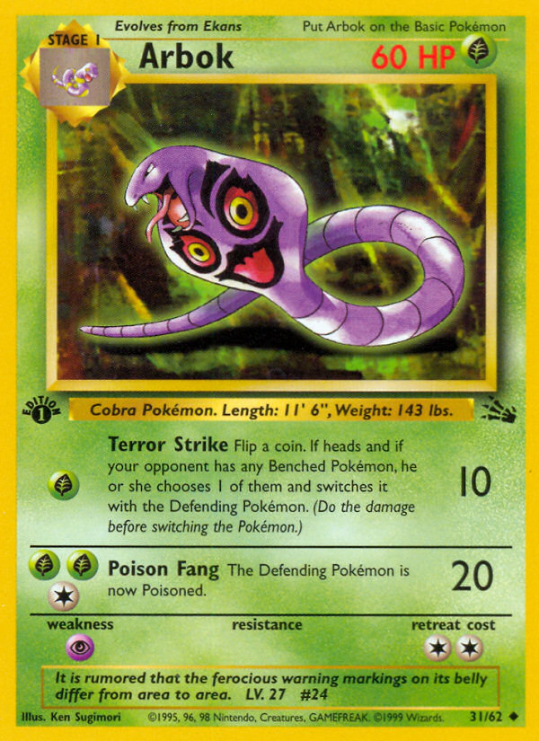 1999 Fossil Arbok 1st Edition
