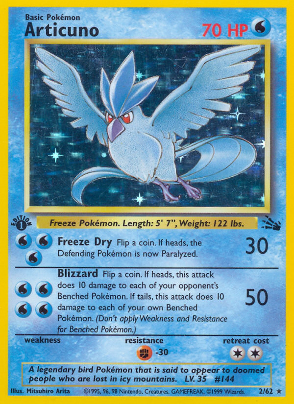 1999 Fossil Articuno 1st Edition  Holo