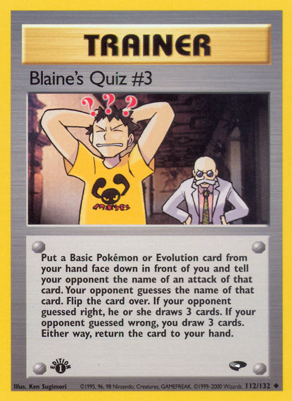 2000 Gym Challenge Blaine's Quiz #3 1st Edition