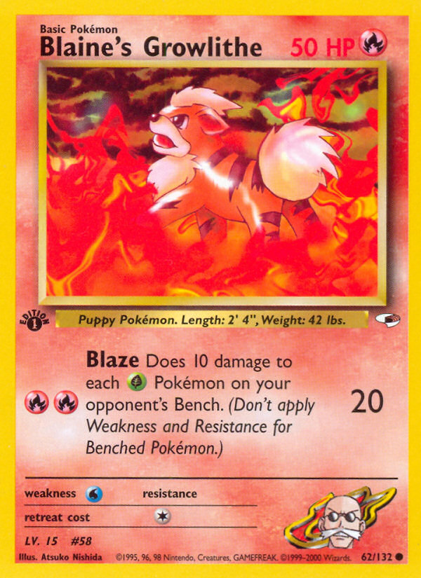 2000 Gym Heroes Blaine's Growlithe 1st Edition