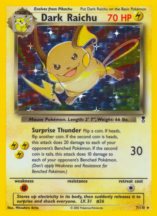 2002 Legendary Collection Dark Raichu   Holo