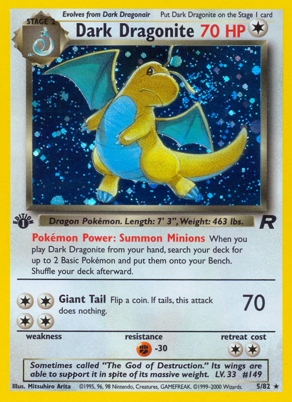 2000 Team Rocket Dark Dragonite No Holo-1st Edition