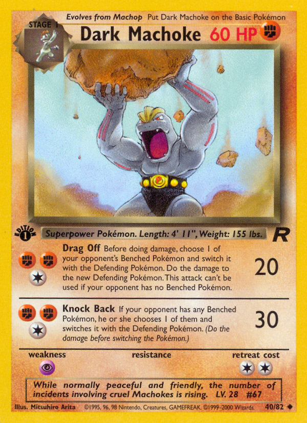 2000 Team Rocket Dark Machoke 1st Edition