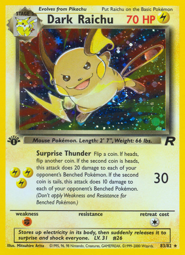 2000 Team Rocket Dark Raichu 1st Edition  Holo